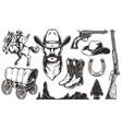 vintage wild west elements set vector image vector image