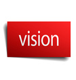 vision red paper sign on white background vector image vector image