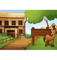 Western old town with horse by the road vector image vector image