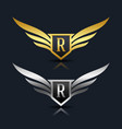 wings shield letter r logo template vector image