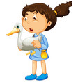 young girl holding duck vector image