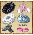 Set of ballet supplies ballerina 6 items clothing vector image