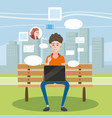 a teenager using laptop in a bench vector image