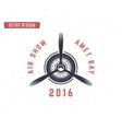 Airplane propeller emblem Biplane label Retro vector image vector image