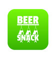 beer snack icon green vector image