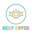 best offer badge with ribbon minimalist line icon vector image vector image