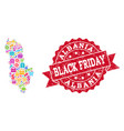 black friday composition of mosaic map of albania vector image vector image