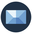 blue flat icon message envelope object vector image vector image