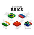 brics flag association of 5 countries and map on vector image