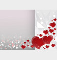 bright valentines day card with mirrored red vector image