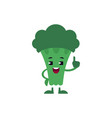broccoli holding up index finger with smile on vector image vector image