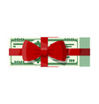 bundle dollars with tied red ribbon and bow vector image