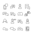 Chat Black White Linear Icons Set vector image vector image