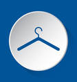 clothes hanger - simple blue icon on white button vector image vector image