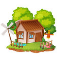 cottage with little garden vector image vector image