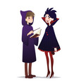 couple of halloween characters in cartoon style vector image vector image