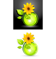 eco sunflower buttons vector image vector image