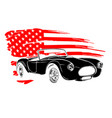 Emblem muscle car silhouette on flag