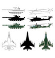 fighter aircraft tank helicopter silhouette vector image vector image