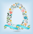 floral letter o with blue ribbon vector image vector image