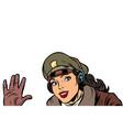 girl woman retro aviator pilot welcome gesture vector image vector image