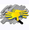 gloves and steel equipment vector image