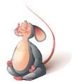 gray rat yoga mouse sits meditating vector image vector image