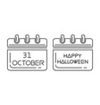 halloween calendar 31 oct holiday date in calendar vector image vector image