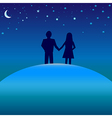 Happiness concept - boy and girl under night skies vector image vector image