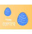 happy easter eggs lie on a light yellow vector image