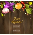 Herbs and spices on dark background vector image vector image