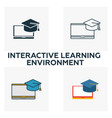 interactive learning environment icon set four vector image vector image