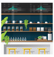 interior scene of modern coffee shop counter bar vector image vector image