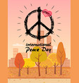 international peace day with hippie symbol vector image vector image