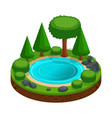 isometric island with a small forest lake trees vector image