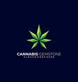 logo cannabis gemstone gradient colorful vector image