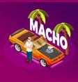 macho man luxury car isometric image vector image vector image