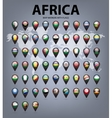 Map markers with flags - Africa Original colors vector image vector image