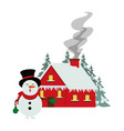 merry christmas snowman and house vector image vector image