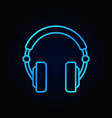 over-ear headphones blue icon in thin line vector image vector image