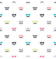 pattern with colorful glasses and mustache vector image vector image