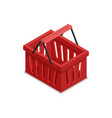 plastic red shopping basket isometric 3d icon vector image