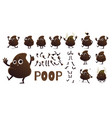 Poop cartoon character creation set with different