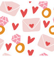 repeated hearts with diamond rings love letters vector image vector image