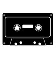 retro audio cassette icon black color flat style vector image vector image
