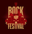 rock festival banner with guitar skull and roses vector image