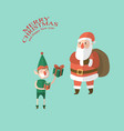 santa and elf in merry christmas vector image