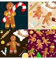set christmas cookies gingerbread man decorated vector image vector image