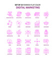 set of 25 feminish digital marketing flat color vector image