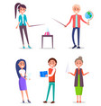 set of isolated teachers characters image vector image vector image